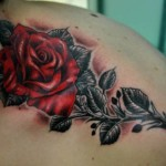 Red Rose Tattoo with Black Leaves