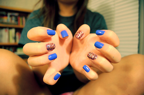 45 nail art tumblr collection for you nail art tumblr 42 blue with glitter nails prinsesfo Gallery