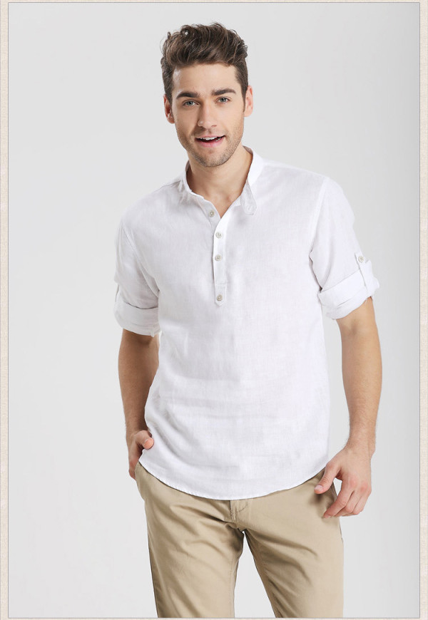 2015-Summer-Men-s-Casual-Fashion-Slim-Fit-Linen-Shirt-Men-Three-Quarter-Shirts-Freeshipping-masculinas