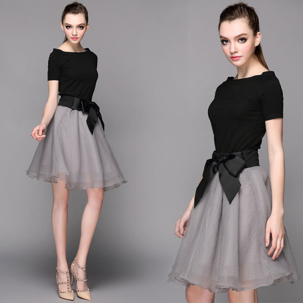 New-Fashion-2015-Summer-Women-Skirt-Set-Black-Tops-and-Big-Bow-Decorative-Knee-Length-Mesh