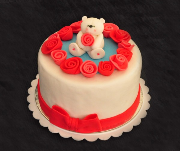 rose valentine cake with teddy2