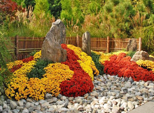 Fall Garden Decorations Created With Mums