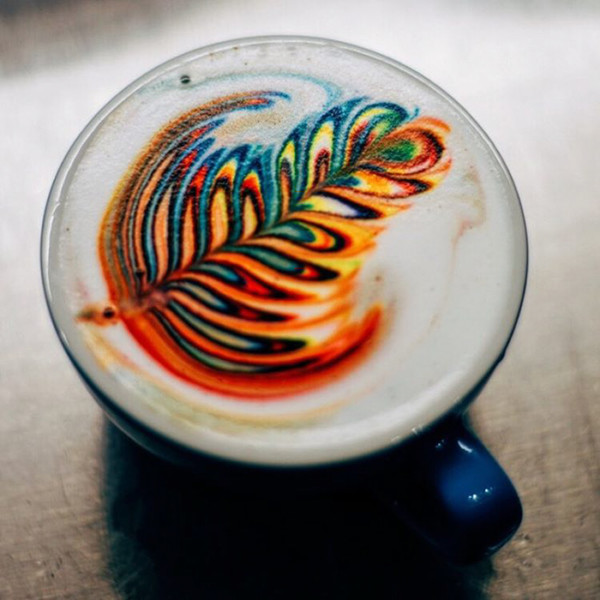 beautiful coloured latte art