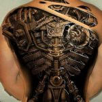 Mechanical Male Back Tattoo