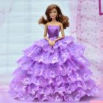 Beautiful Barbie Doll With long Hair and Purple frock