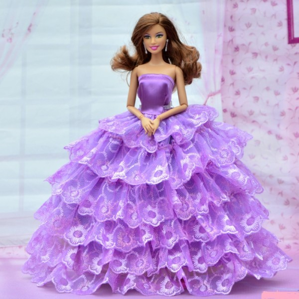 Beautiful Barbie Doll With Long Hair And Purple Frock Impfashion