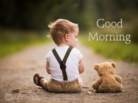 cute baby with teddy bear good morning image