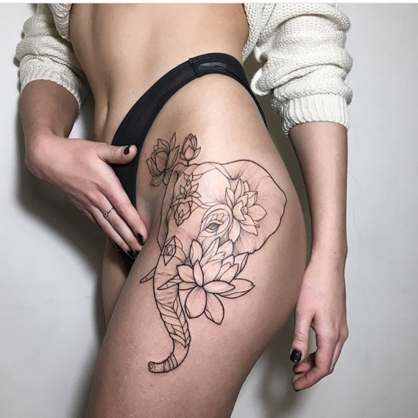 Elephant And Lotuses Tattoo On The Thigh ImpFashion