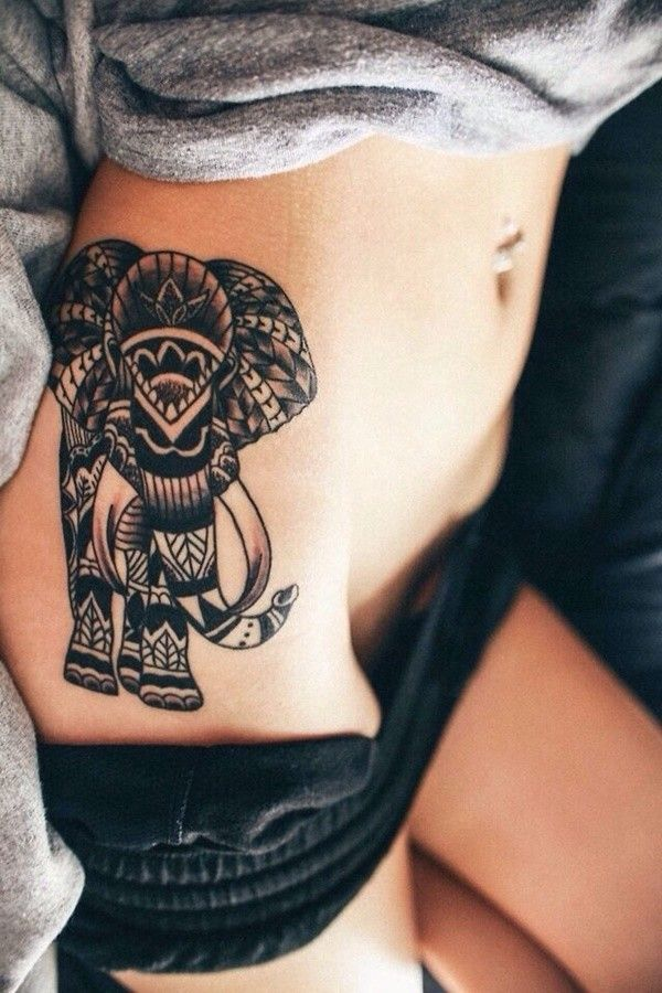 hot tribal elephant tattoo on side for girls