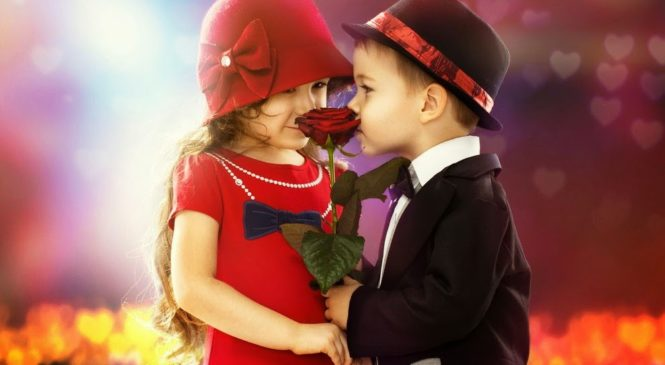 Black Suit Boy Givinig Red Flower to Red Suit Girl