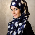 Amazing and Simple White Circle on Blue Hijab