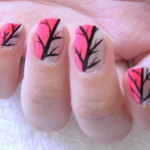 Easy nail art designs pink and silver