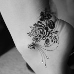 Beautiful Handmade Black Rose Tattoo