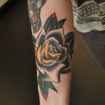Black and Yellow Rose Tattoo