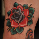 Beautiful Red and Green Rose Tattoo