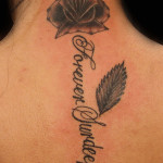 Handmade Black Rose Tattoo with Beautiful Leave