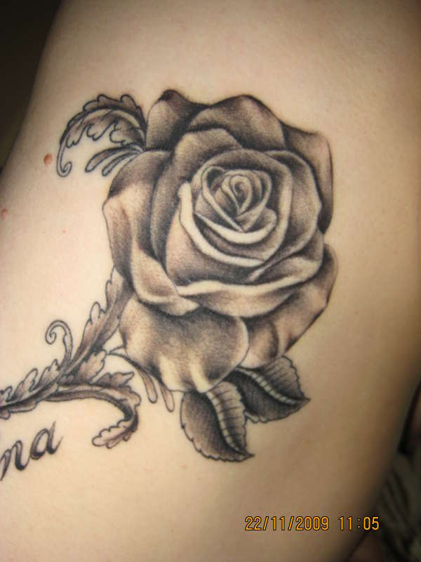 Handmade Black Rose Tattoo with Leaves
