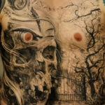 Horrible and Scary Skelton Chest Tattoo