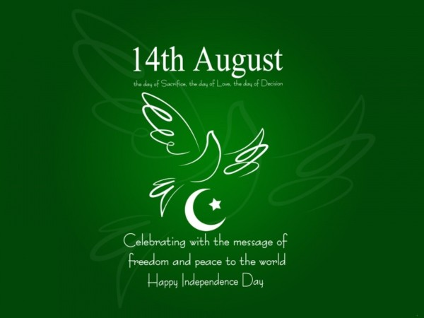 14th august celebrating with the message of freedom and peace to the world happy independence day